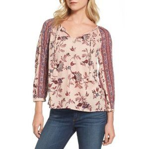 Lucky Brand Boho Mixed Print Long Sleeved Blouse